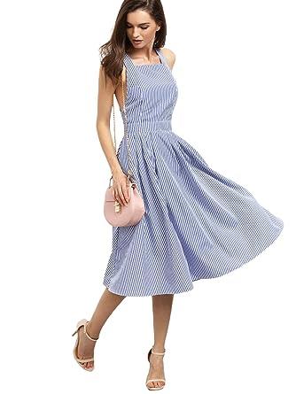 df22e92b97f Floerns Women s Striped Strappy Criss Cross Back Midi Dress with Pockets  Blue XS