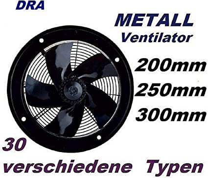 200mm Ventola in Metallo industria//VENTOLA VENTOLE Parete Metallo Muro//Ventilatore//Ventilatore