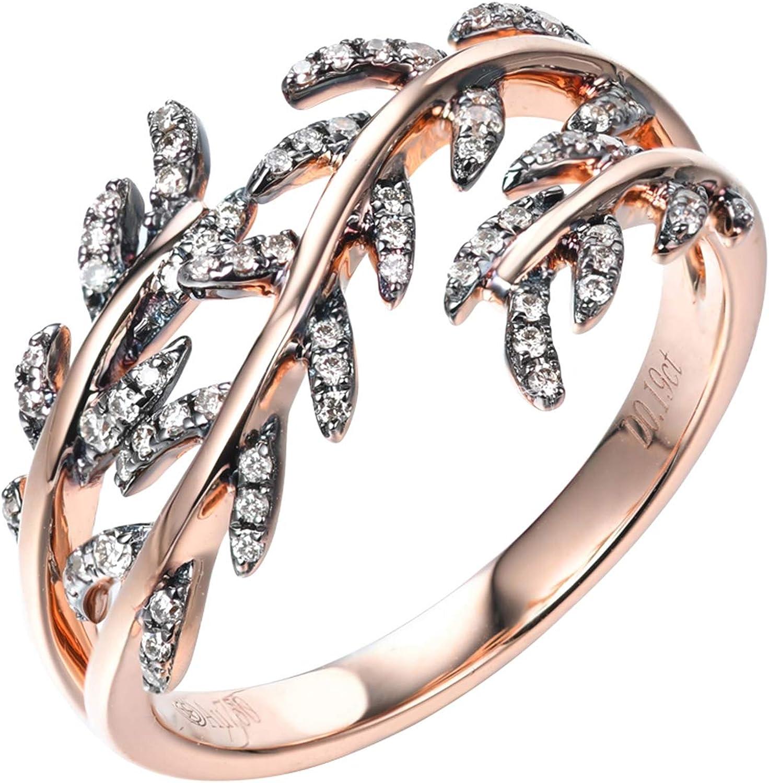 Beydodo Anillos de Mujer de Oro Rosa 18K Oro Rosa Hojas Diamante Champán 0.19ct