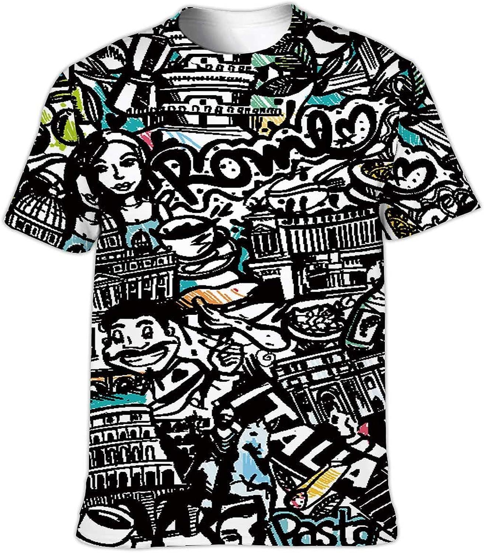 C COABALLA Rome Italia Sketch Italian Food,Couple Cool Short Sleeve Crew Neck T-Shirt s S