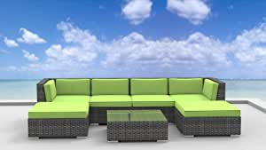 UrbanFurnishing.net 0P-5TIB-AOUT 7 Piece Modern Patio Furniture Sofa Sectional Couch Set