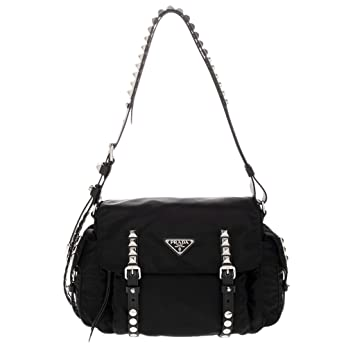 f91824ee74a Amazon.com: Prada Black Nylon Shoulder Bag Silver Metal Studs: TheLuxuryClub