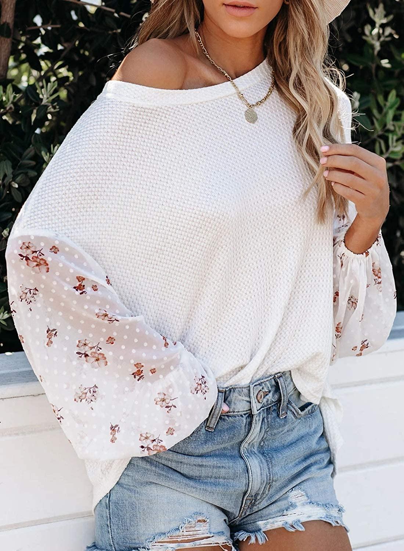 Azokoe Women Off Shoulder Long Sleeve Oversized Pullover Top Loose Waffle Knit Sweater Knit Jumper