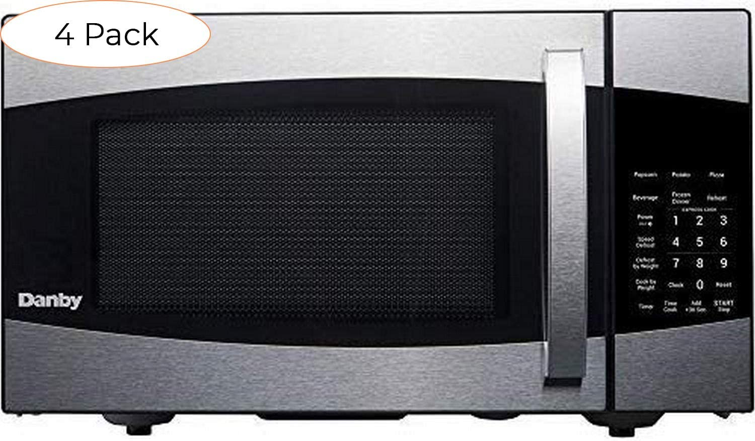 Danby DMW09A2BSSDB 99LD DMW09A2BSSDB 0.9 cu. ft. Microwave Oven, Stainless Steel.9 cu.ft, Pack 4