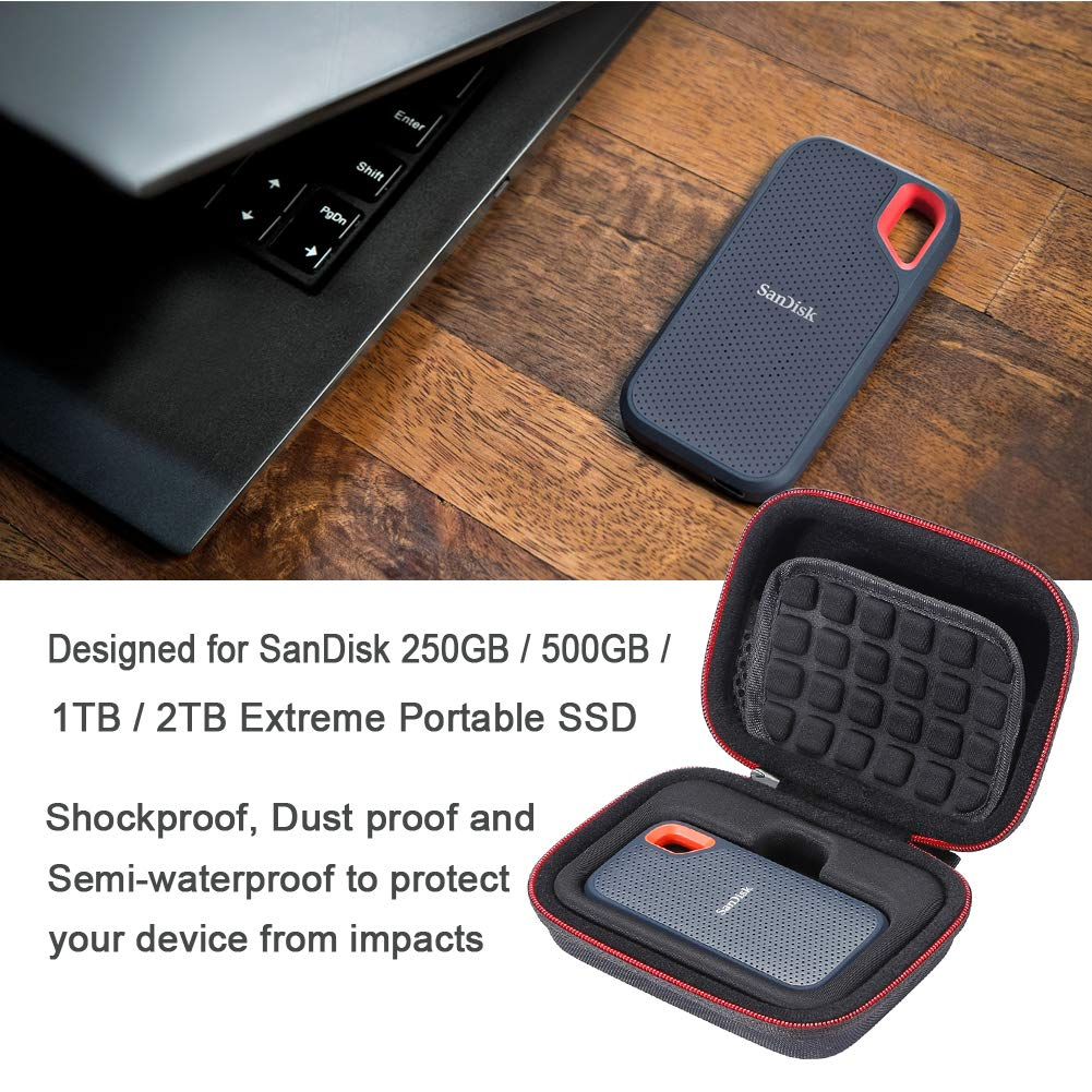 graues Futter Reisetasche Grau Hard Case f/ür SanDisk 250 GB // 500 GB // 1 TB // 2 TB Extreme Portable SSD SDSSDE60