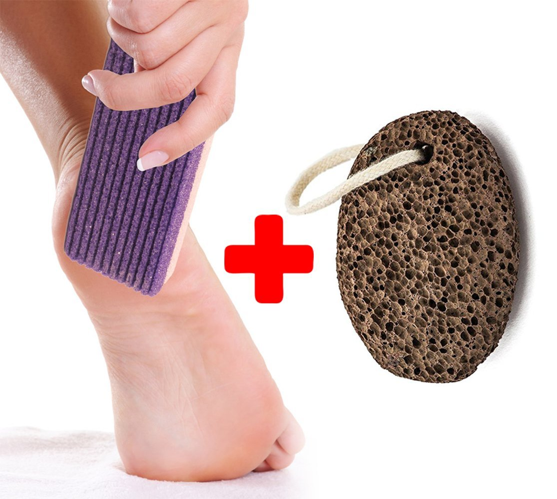 Finest Natural Lava Pumice stone - Gift Set Bundle Synthetic Purple Pumice Stone plus Bag -Callus Remover Foot Scrubber Home Pedicure Exfoliation.
