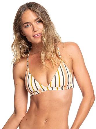 411bffb0f6201 Amazon.com  Roxy Womens PRT Strappy Love Rv Fixed Tri Cream Tan Macy Strip  Swimsuit Size  Clothing