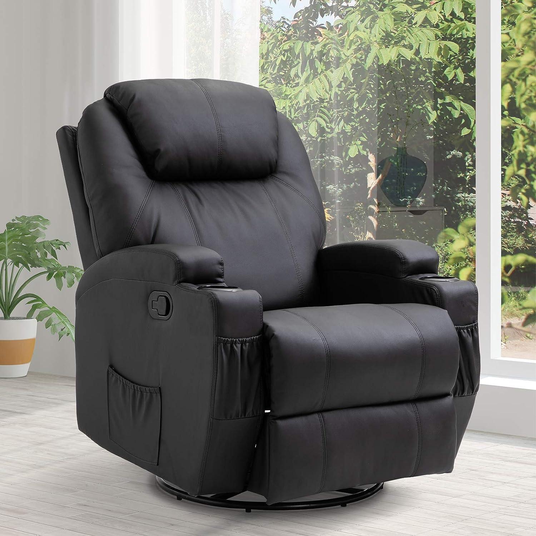 HOMCOM Massagesessel Fernsehsessel mit W/ärmefunktion Relaxsessel Fernsehsessel Sessel Schwarz