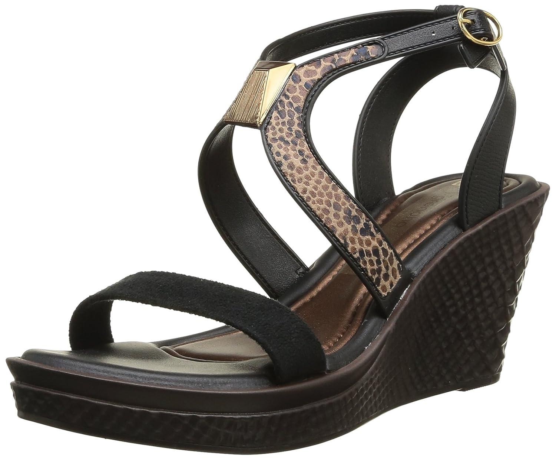 Grendha Brasil Allure Wedge Womens Sandals B00FC2AL5A 6 B(M) US|Black/Snake