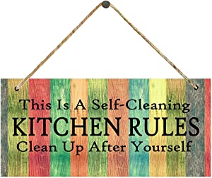 Sobzy Kitchen Rules Sign,Kitchen Decor, This is a Self Cleaning Kitchen Hanging Wall Art, Vintage Distressed Wood Sign Home Decor