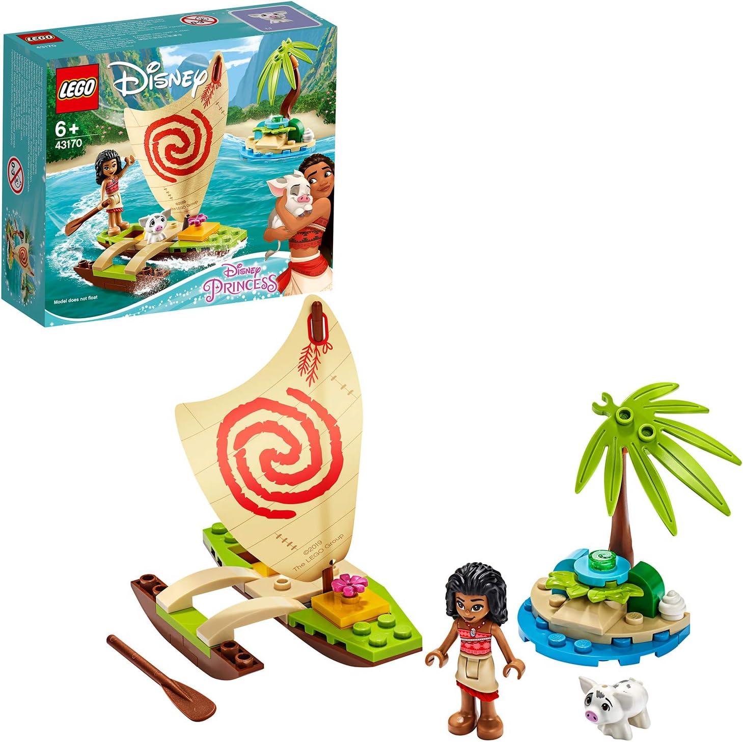 LEGO Disney Princess - Aventura Oceánica de Vaiana Juguete de Construcción Creativo de la Película, con Muñecas de Vaiana y Púa, Contiene una Canoa y otros Elementos, a Partir de 6 Años (