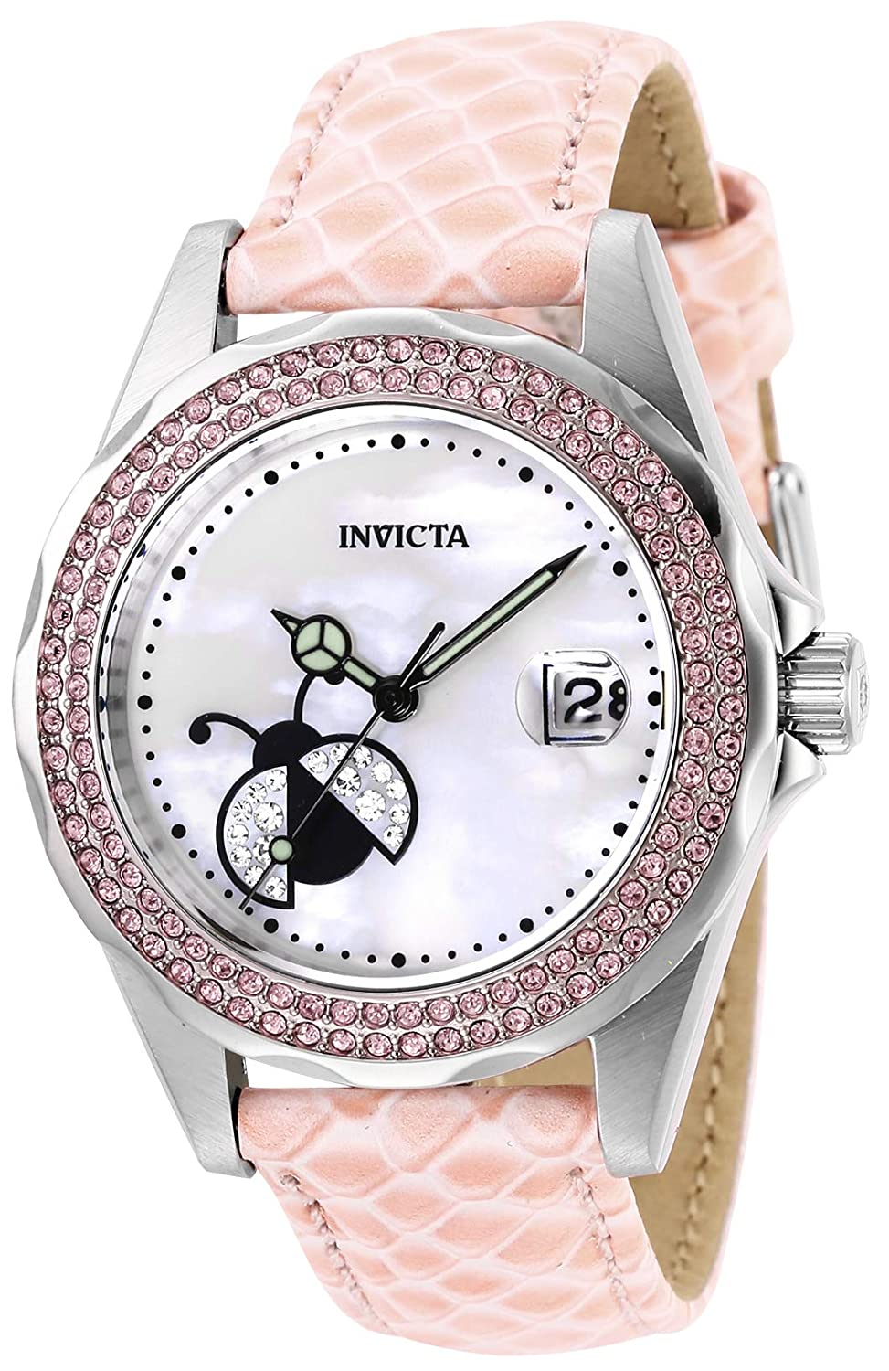 Invicta Women s Angel Stainless Steel Quartz Watch with Leather Calfskin Strap, Pink, 18 Model 29027