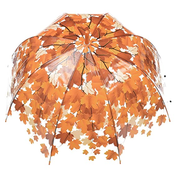 Remedios automático abierto transparente burbuja transparente hoja de la bóveda paraguas lluvia,Mandarina: Amazon.es: Equipaje