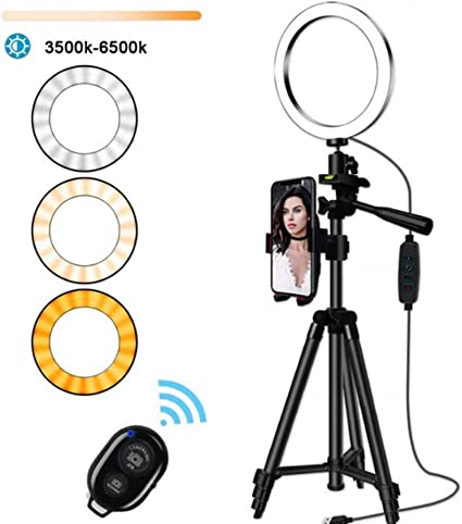 LED Ring Fill Light for Live Streaming Tripod YouTube Video Production Light USB 10 inch 3 Colors Ring Fill Light