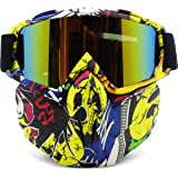 Motorcycle Helmet Goggles Removable Face Mask, PP PICADOR Detachable Motocross Motorbike Goggles UV Protective Adult Man