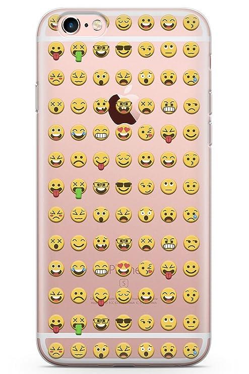 Case Warehouse iPhone 6 Plus Claro Patrón Emoji Funda de Teléfono de Goma Cover Emoticon Emojis