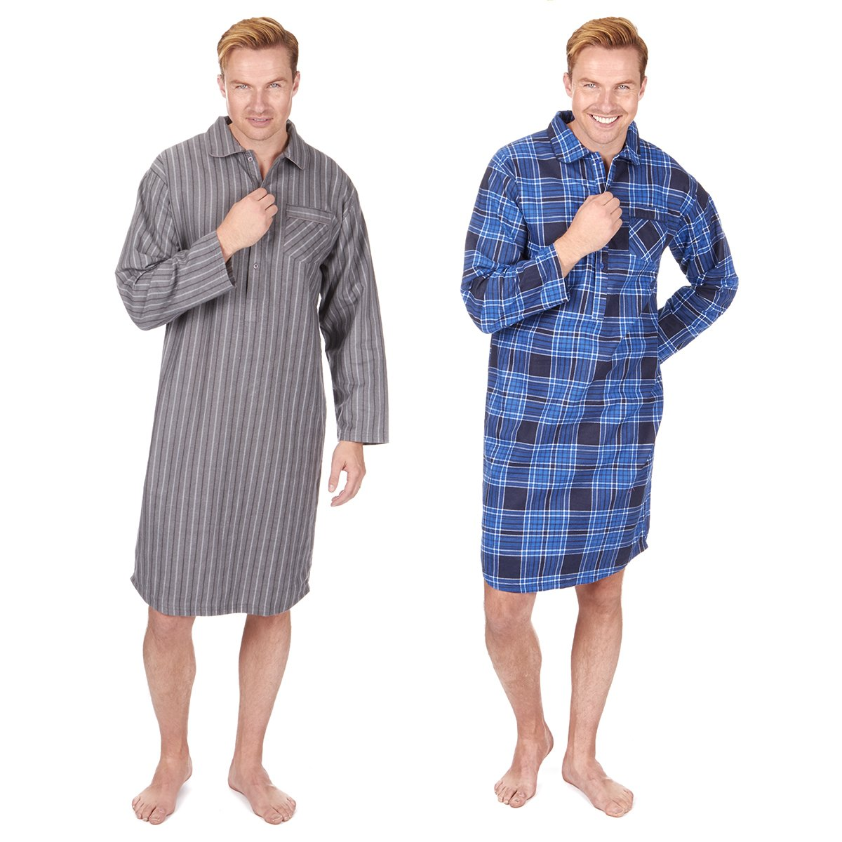 6ccd3926fb CARGOBAY Mens Striped Long Flannel Nightshirt  Amazon.co.uk  Clothing