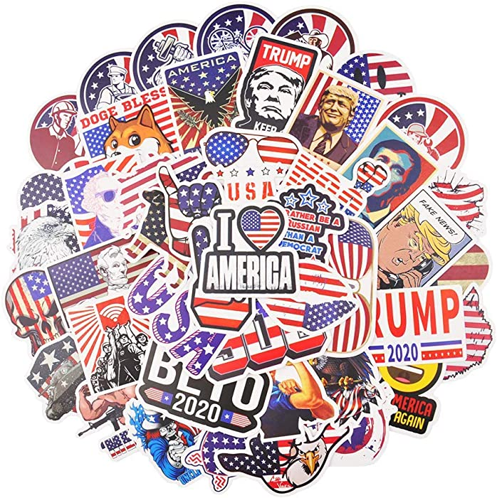 50pcs American Flag Stickers for Hydroflask Water Bottle, Laptop, Skateboard, Vinyl Waterproof USA Stickers Pack, Cool Stuff for Teens, Kids, Adults