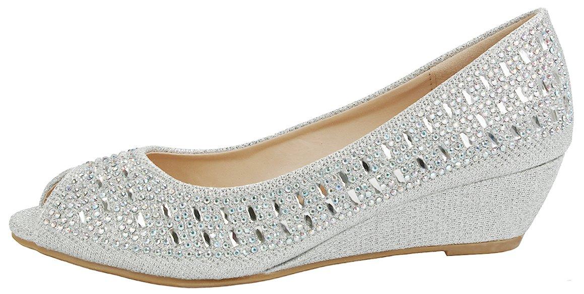 Women Fisher Silver Open Toe Sparkle Glitter Rhinestone Formal Comfort Mid Wedge Heel Dress Pumps-6 by JJF Shoes (Image #2)