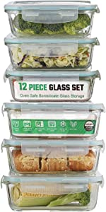 Glass Meal Prep Containers | 12-Piece | Food Storage Containers with Lids | Airtight Food Prep Containers | Glasslock Containers | Meal Prepping Lunch Containers | BPA Free