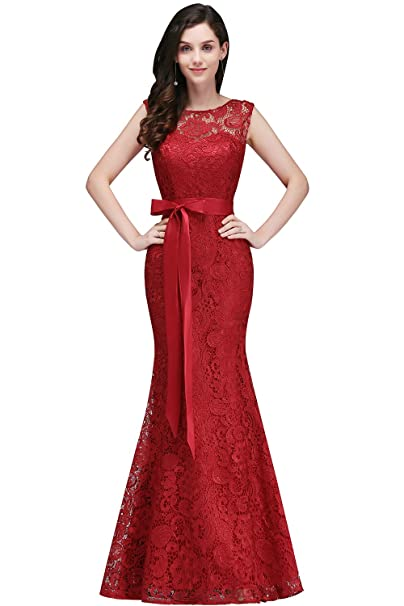 Misshow Lace Mermaid Evening Dress For Women Formal Long Prom Dress: Amazon.co.uk: Clothing