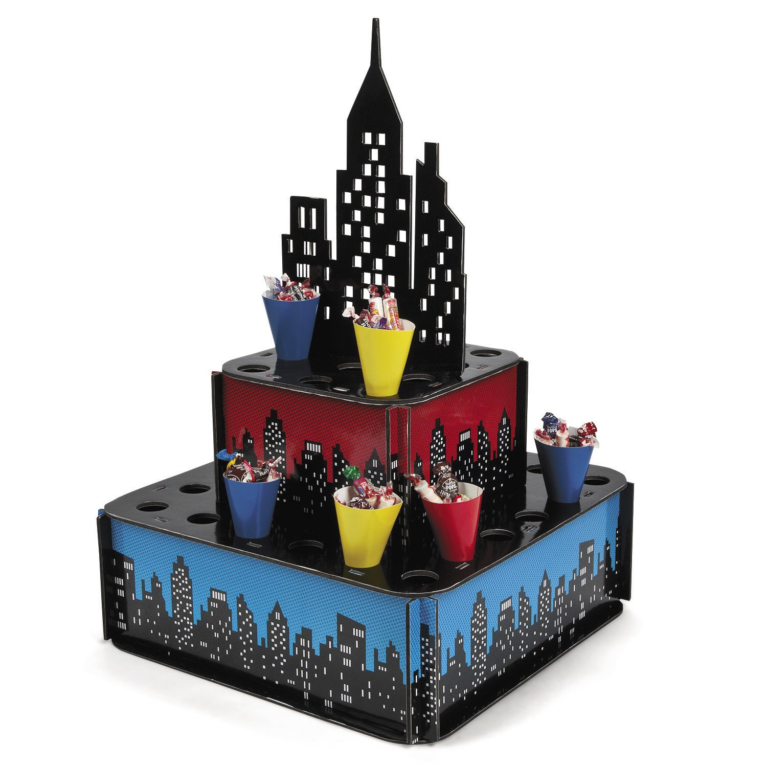 Fun Express IN-13604631 City Buildings Centerpiece Stand with Cones, One Size, Multi-colored