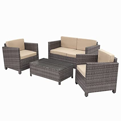 Wicker furniture direct Outdoor Patio Furniture Set,4 Piece Coversation Set  Rattan Chair Loveseat with - Amazon.com : Wicker Furniture Direct Outdoor Patio Furniture Set, 4