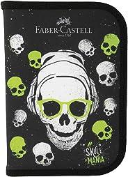 Estojo Escolar Faber-Castell Caveirinhas Verdes, 12 Cores