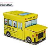 Inditradition Kids School Bus / Sitting Stool / Storage Box / Playing Toy (Multipurpose, Collapsible, Hard Cardboard, Size : 53X30X25 cm, (Yellow Color)