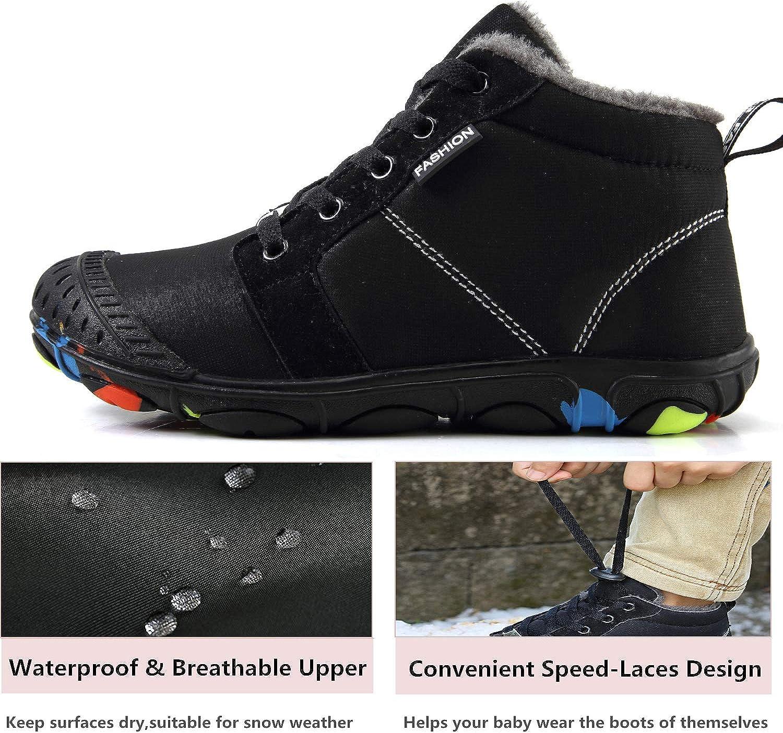 SMajong Enfant Bottes de Neige Hiver Chaud Doubl/é Chaussures dhiver Gar/çon Fille Confort Lacets Bottes Martin Imperm/éable Antid/érapant Cheville Boots Bottines de Plein Air