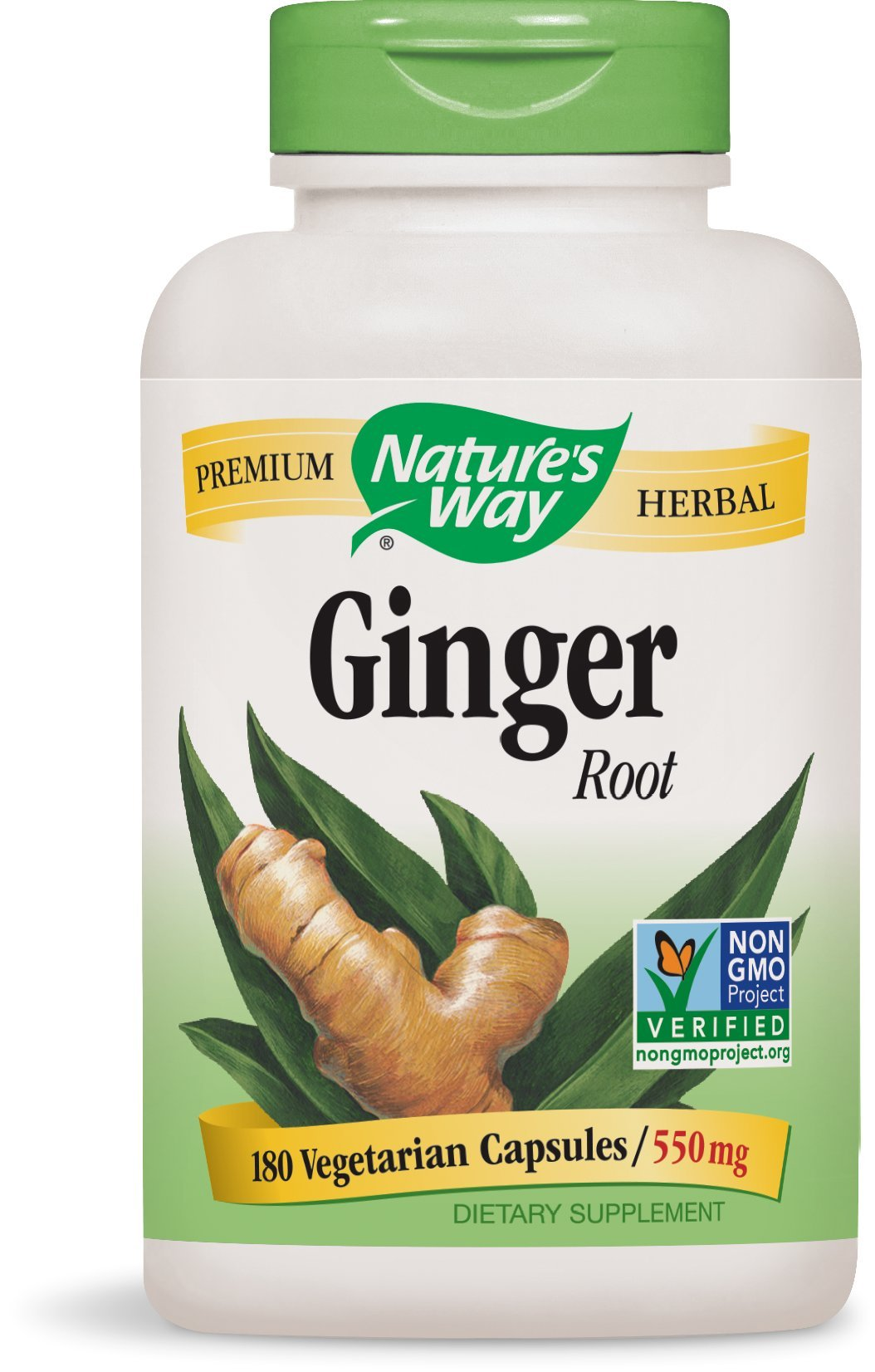 Nature's Way Ginger Root; 1.1 gram Ginger Root per serving; Non-GMO Project Verified; TRU-ID Certified; Gluten-Free; Vegetarian; 180 Capsules (Pack of 2)