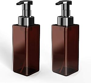 OBED Foaming Hand Soap Dispenser 2Pcs Set – 17oz/500 mL Plastic Soap Dispenser – Ultra-Durable Soap Dispenser Pump – Eco-Friendly and Reusable – Ideal for Foam Shampoo, Foam Soap – Brown