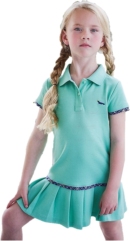 Dakomoda Toddler Girls' Mint Green Polo Dress - 100% Pima Cotton Pleated Tennis Dress