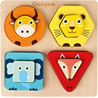 Coogam Wooden Animal Sorting & Stacking Toys, Shape Color Recognition Blocks Matching Puzzle, Fine Motor Skill…