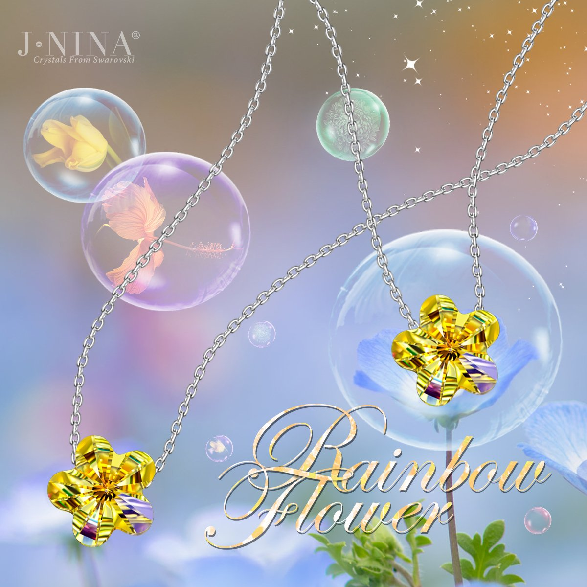 Amazon.com: J.NINA 925 Sterling Silver Rainbow Flower Chain with Aurora  Borealis Crystals from Swarovski, Lucky Pendant Necklace Birthday  Anniversary ...