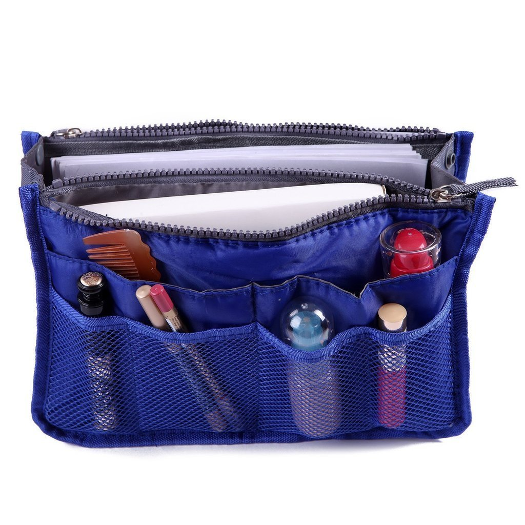 Focussexy Handbag Organizer Multi Pocket Purse Tote Blue by Focussexy
