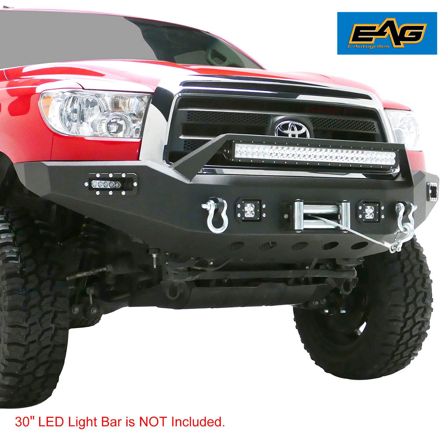 Amazon Com Eag Black Front Bumper With Led Lights Steel