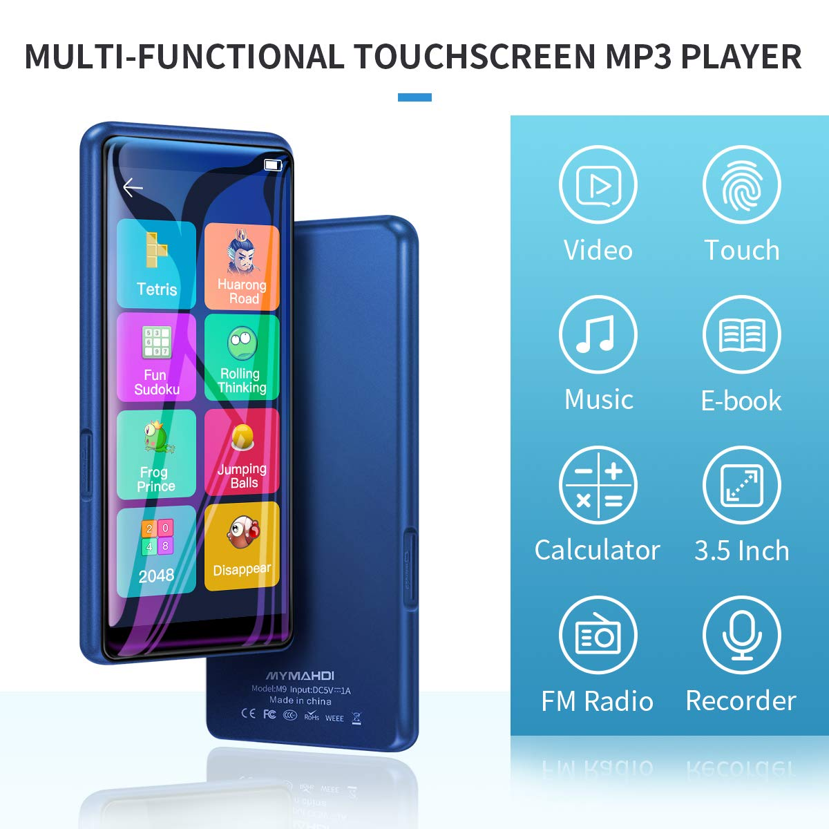 Blue High Resolution and Full Touch Screen MYMAHDI MP3 Player Voice Recorder 8GB HiFi Lossless Sound Player with FM Radio Supports up to 128GB