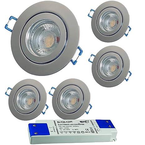 2 St/ück IP44 MCOB LED Bad Einbaustrahler Neptun 12 Volt 5 Watt Rund Farbe Wei/ß Lichtfarbe Warmwei/ß inkl LED Trafo