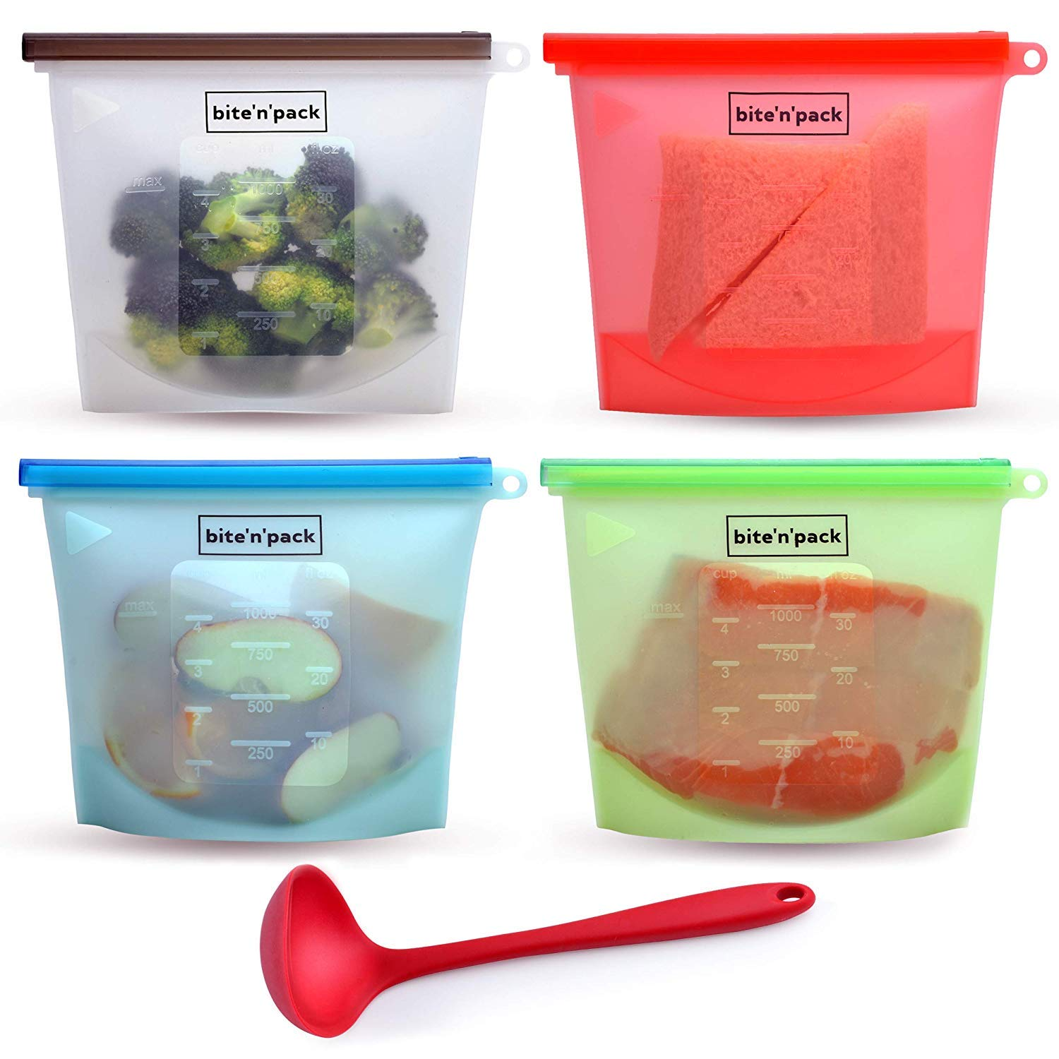 Reusable Silicone Food Storage Bag Set of 4 + 1 BONUS LADLE to Store/Freeze/Heat/Sous Vide Food and Drinks, Leakproof, Microwave Freezer Dishwasher Safe, Reusable Sandwich Bags