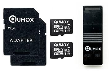 QUMOX 2 x 32GB Tarjeta Memoria Micro SD Clase 10 UHS-I con Lector USB OTG