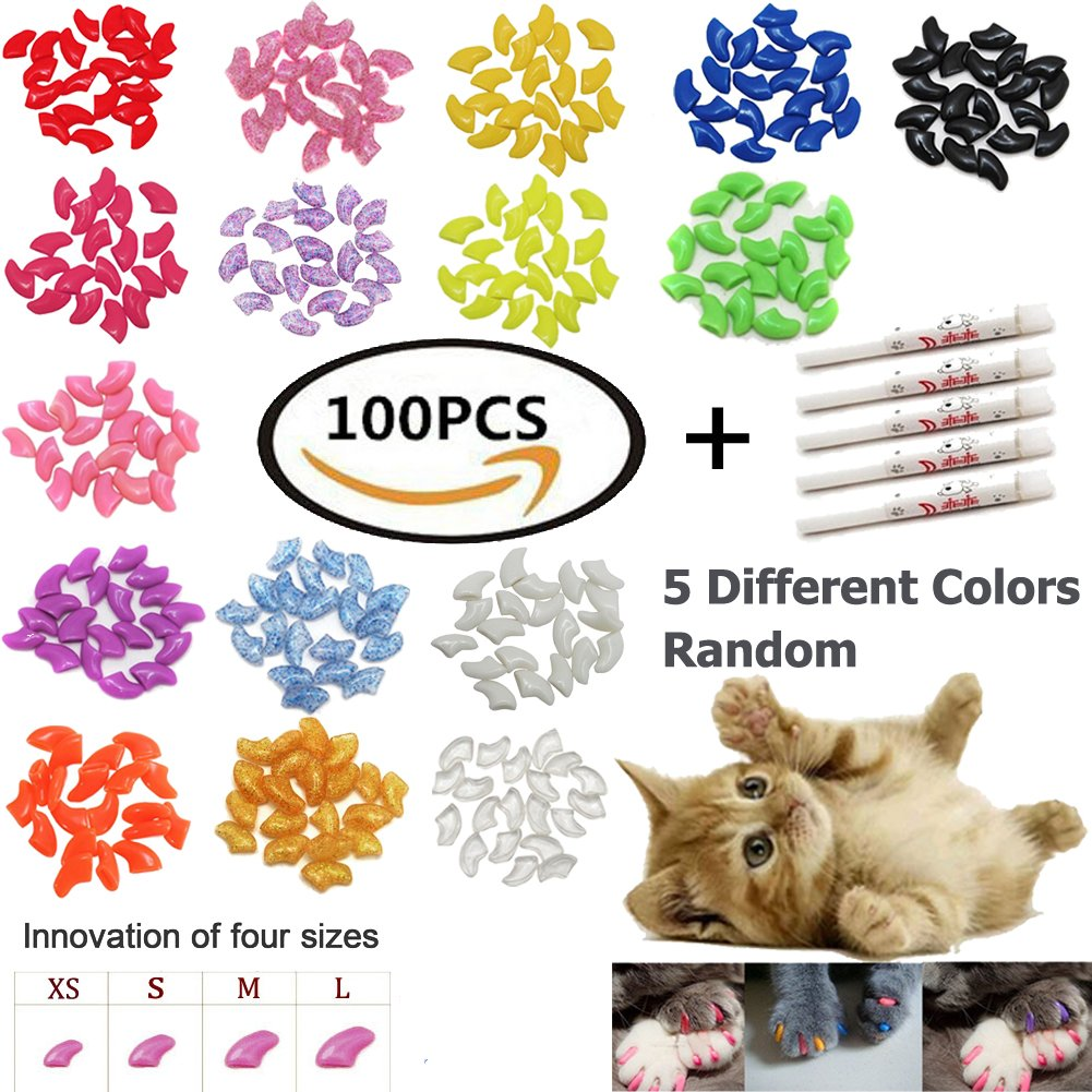 100 PCS Soft Pet Cat Nail Caps VICTHY Cats Paws Grooming Nail Claws Caps Covers of 5 Kinds Different Colors + 5Pcs Adhesive Glue