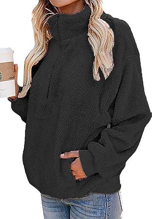 Yskkt Womens Plus Size Sherpa Sweatshirts Winter Warm Quarter Zip Fuzzy Pullover Fleece Jacket Coat Outwear with Pockets