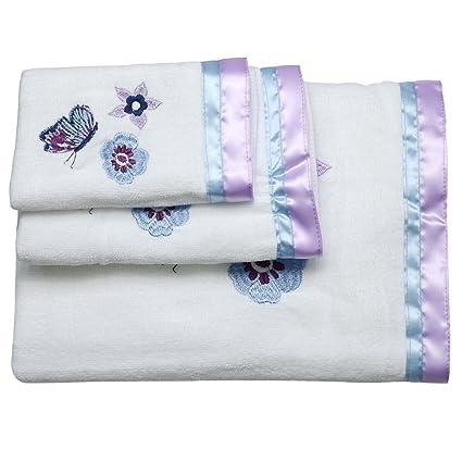 Toallas de algodón toallas de mano de decorativo – juego de toallas bordadas (3 unidades