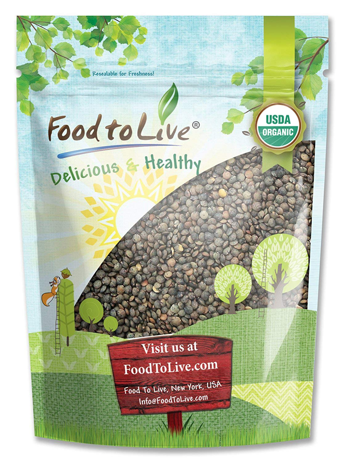 Organic French Green Lentils by Food to Live (Whole Dry Beans, Non-GMO, Kosher, Raw, Sproutable, Bulk) — 3 Pounds