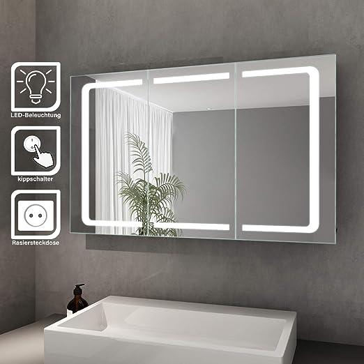 Elegant Bad Spiegelschrank Mit Beleuchtung Led Licht Badezimmer