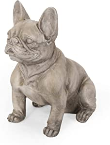 Christopher Knight Home Susan Outdoor French Bulldog Garden Statue, Gray