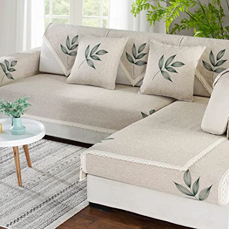 Cotton And Linen Sectional Sofa Throw Cover Pad Anti-slip ...