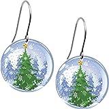 Body Candy Snow Globe Holiday Tree Earrings