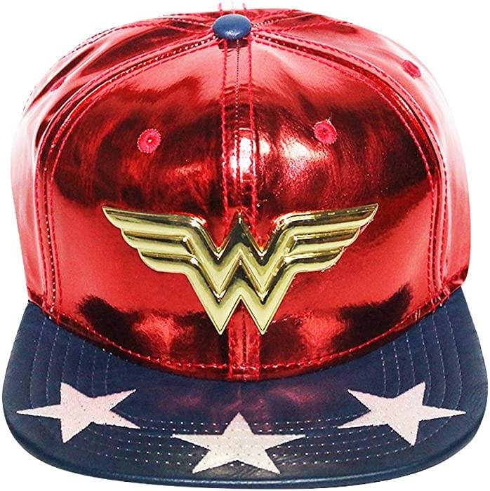 the latest b02b2 1d200 Women s Licensed Wonder Women PU Suit Up Snapback Hat O S Red